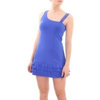 Платье с рюшами, синий кобальт